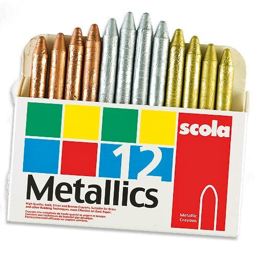 Scola Metallic Wax Crayons for Children Gold Silver Bronze for Children to Colour and Decorate (Box of 12) by Baker Ross