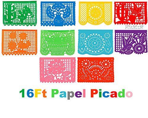 Papel Picado 16 Ft Plastic Traditional Authentic Cultural Mexican Decorative Fiesta Party Flags Patterned Folk Art Festive Decorations