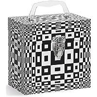 Tunes-Tote Round Illusion Black 45 RPM Vinyl Record Storage Case - Vinyl Record Storage Box, 45 Record Carrying Case & Protector (4503)