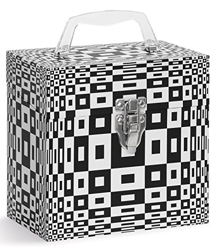 Vinyl Record Storage CASE. 45 Records Storage. 45-RPM Record Cases. Holds Up to 50 45rpm. Double Walled Vinyl Record Holder. Vintage Design Record Carrying Case. Round Illusion Black