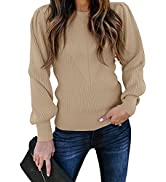 Huiyuzhi Womens Puff Sleeve Pullover Sweaters Crew Neck Soft Slim Fit Solid Color Knitted Jumper