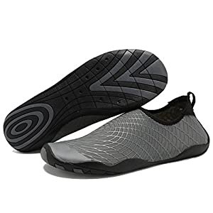 CIOR Men Women Kid's Barefoot Quick-Dry Water Sports Aqua Shoes with 14 Drainage Holes for Swim, Walking, Yoga, Lake, Beach, Garden, Park, Driving,SYY04,w.Grey,42