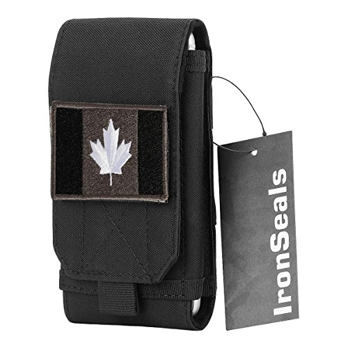 IronSeals Tactical MOLLE Pouch, Large Heavy Duty Tatical Molle Loop Belt Pouch Cellphone Holster with Flag Patch for iPhone XSmax/XR/XS/X/8P/8/7, Samsung Note9/8/5, Galaxy S9+/S9/S8+/S8/S7 and Other