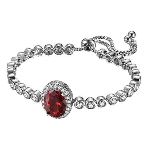 KIVN Fashion Jewelry Adjustable Bolo Ruby Red Pave CZ Cubic Zirconia Princess Diana Bridal Wedding Bracelets for Women ()
