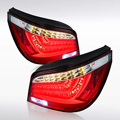 Autozensation For BMW E60 525i/530i 5-Series 4DR Red Clear LED Tail Lights Brake Lamps Pair