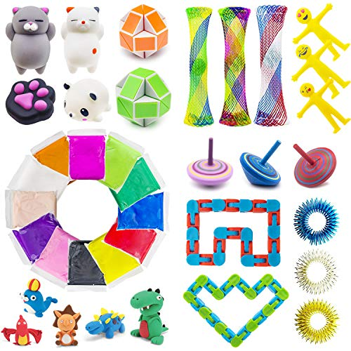 NANAHouse Sensory Toys for Special Needs,Stress Relief Toys Bundle,12 Colors DIY Air Dry Clay,Wood Spinner,Wacky Tracks Snap,Squishies Toy,Snake Twist Puzzles for ADHD ADD Anxiety Autism ()