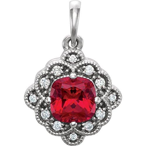 Bonyak Jewelry Lab-Created Ruby 14k White Gold Chatham Created Ruby & .03 CTW Diamond Pendant