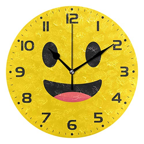 Naanle Yellow Smile Emoji with Open Mouth Smiley Happy Face Round/Square/Diamond Acrylic Wall Clock Oil Painting Home Office School Decorative Creative Dual Use Clock Art ()