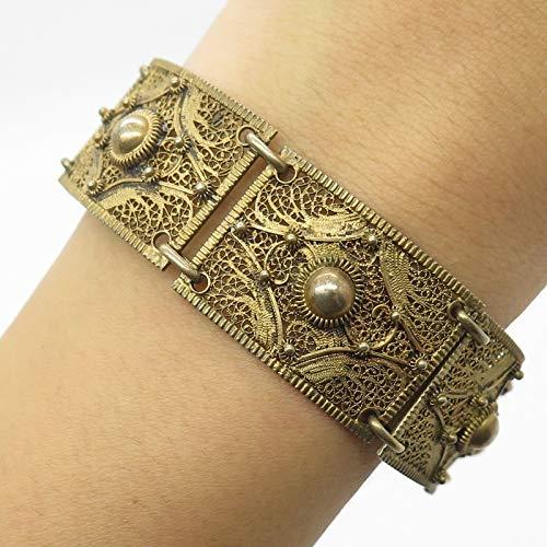 Antq 925 Sterling Silver Gold Plated Filigree Link Bracelet 7