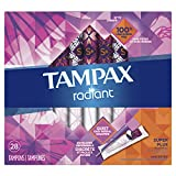 Tampax Radiant Plastic Tampons, Super plus Absorbency, Unscented, 28 Count (Packaging May Vary)