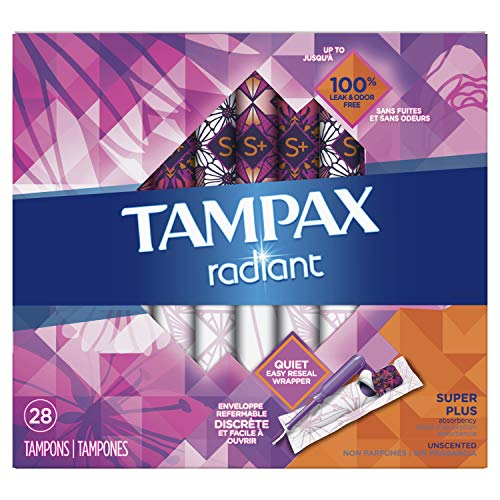 Tampax Radiant Plastic Tampons, Super plus Absorbency, Unscented, 28 Count (Packaging May Vary) ()