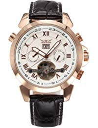 AMPM24 Men's Rose Gold Tourbillon Date Day Aviator Automatic Mechanical Leather Watch PMW283