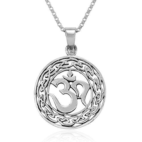 MIMI Sterling Silver Yoga Om Aum Ohm Celtic Knot Filigree Round Pendant Necklace, 18 inches
