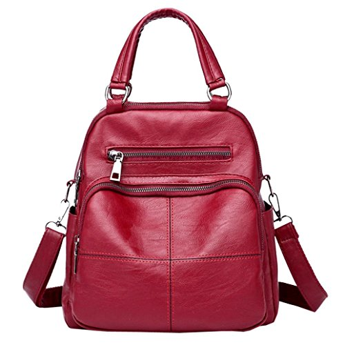YJYDADA Bag,Vintage Girl Leather School Bag Backpack Satchel Women Travel Shoulder Bag (Red)