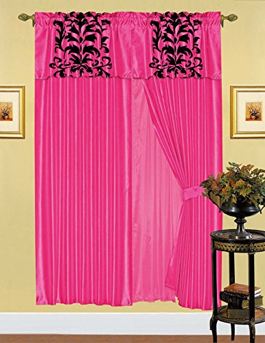 8pc-luxury-flocking-window-curtain-set-with-sheer-panel-and-valance (Hot Pink)