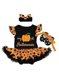 Baby Girls 1st Halloween Outfit Pumpkin Romper Dress Headband Shoes Skirt Set