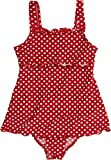 Playshoes Girl's Dots Collection One Piece Bathing Skirted Swimsuit (5-6 Years), Red