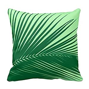 Palm Leaf Emerald And Lime Green Throw Pillow Case: Amazon ...
