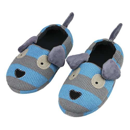 Boys Puppy Bootie (Little Kids Puppy Slippers Boys Winter Warm Plush Booties House Slipper Shoes Indoor Cartoon Ankle Boots Footwear Knitted Wool Home Shoes Winter Thick Doggy Slippers (11-12 M US Little Kid, Blue))
