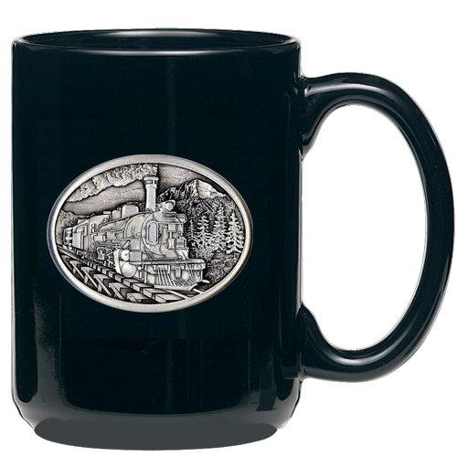 1pc, Pewter Train Coffee Mug, Black