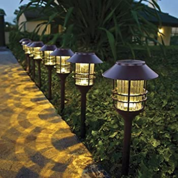 Amazon Com Hgtv Home 8 Piece Led Solar Pathway Lights