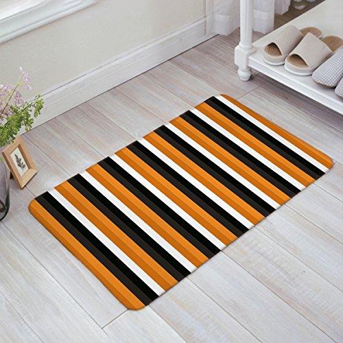 Indoor Doormat Welcome Mat Halloween Yellow Orange Grey Black and White Stripe Entrance Shoe Scrap Washable Apartment Office Floor Mats Front Doormats Non-Slip Bedroom Carpet Home Kitchen Rug 18