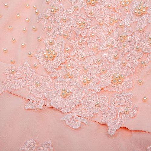 Bodenlang Rücken 3 Cl670 Abendkleid Standesamtkleid Damen Spitze CL670 GRACE rosa KARIN Chiffon V Paillettenkleid qBtxAg