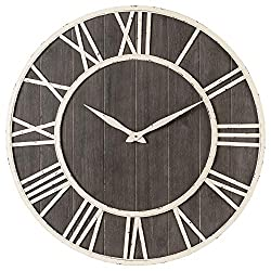 Oldtown Clocks Nautical Wall Clock - Metal & Solid Wood Whisper Quiet Ticking Wall Clock (Nautical Grayish-Brown, 30-inch)
