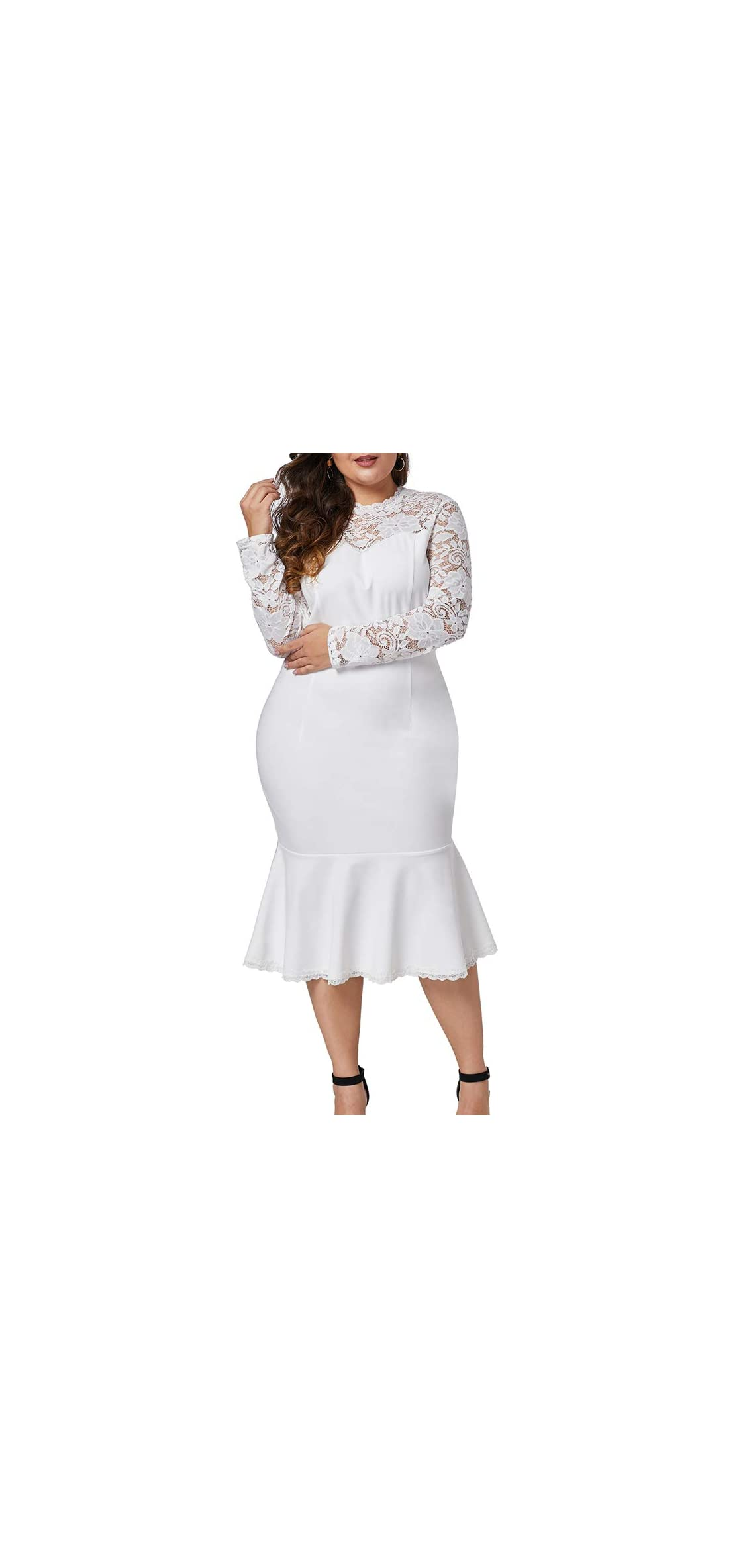 Womens Plus Size Lace Long Sleeve Cocktail Party Mermaid