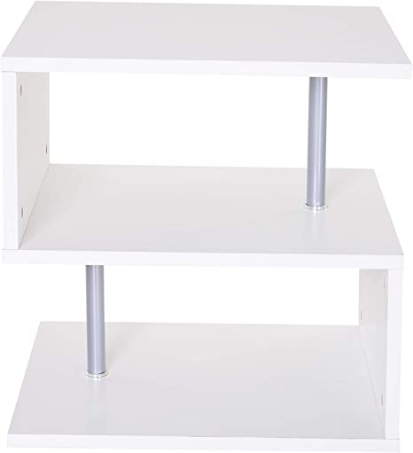 Amazon Com Nightstands 3 Tier Side Coffee Table Shelf With Unique S Shaped Design Display Modern Rectangle Bedside Table Storage For Living Room Bedroomi ˆus Stocki Kitchen Dining