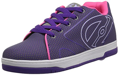 Heelys Kids' Propel Knit Sneaker, Grey/Purple/Neon Pink Knit, 3 Medium US Big Kid