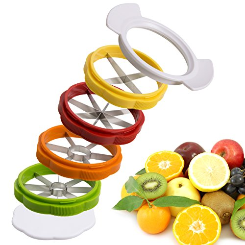 Apple Slicer Apple Corer Slicer Peeler 8-blade Apple Wedge Slices Stainless Steel Interchangeable 4 in 1 Tomato potato and Oranges Lemon Fruit Cutter Storage Box Sharp Slicer