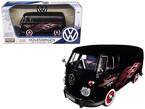 Motormax Volkswagen Type 2 (T1) Delivery Van Matte Black with Flame Design 1/24 Diecast Model Car