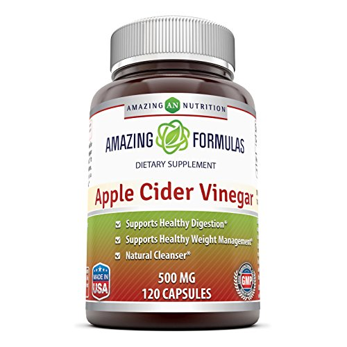 Amazing Formulas Apple Cider Vinegar - 500 Mg, Capsules - Supports Healthy Weight Management - Supports Digestive Functions - Natural Cleanser. (120 Count)