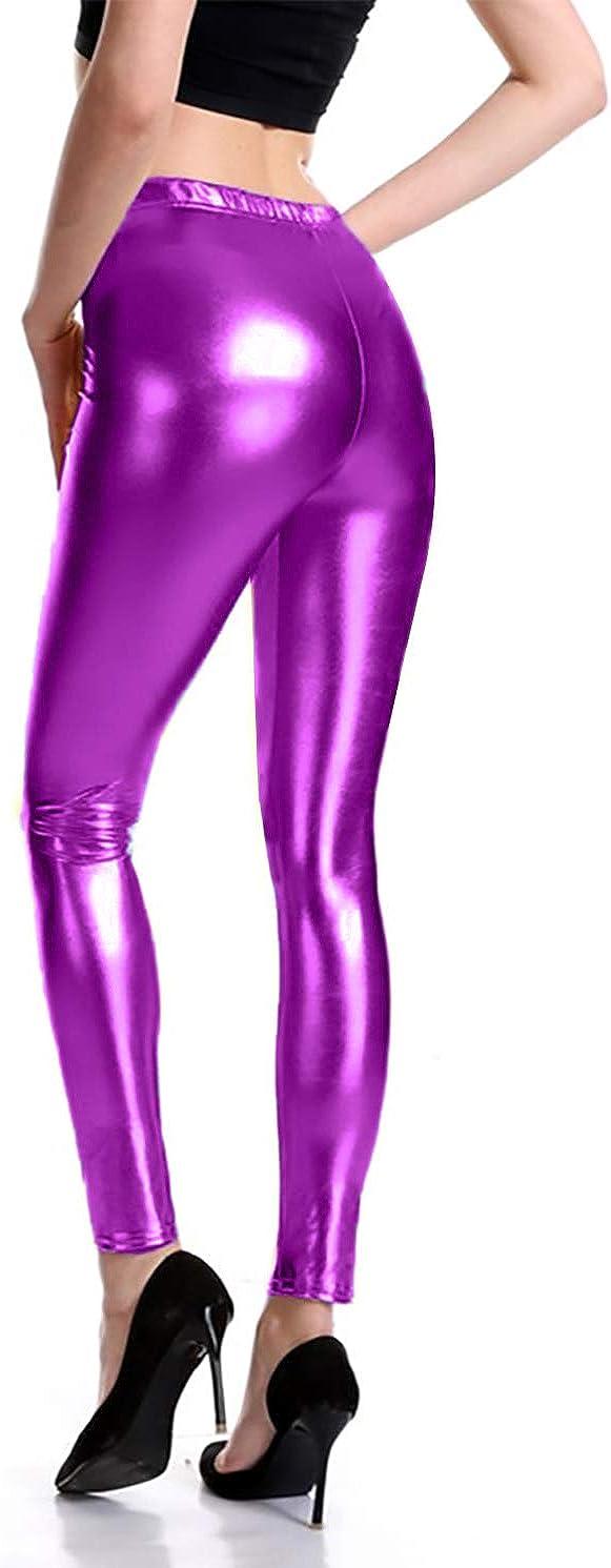 Furein Leggins para Mujer El/ásticos C/ómodos Acabado Colores Brillantes Metalizados Imitaci/ón Cuero con Cintura El/ástica