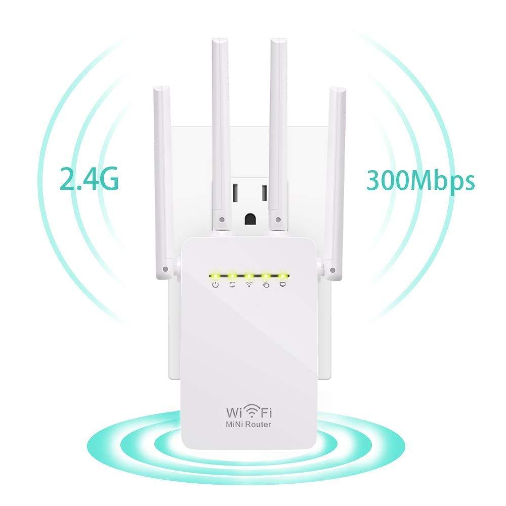 Wifi Repeater, KeepTpeeK Wifi Range Extender 300Mbps 2.4GHz Signal Internet Extender Amplifier Wifi Booster with Four Antennas