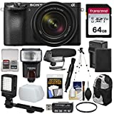 Cheap Sony Alpha A6500 4K Wi-Fi Digital Camera & 18-135mm Lens with 64GB Card + Battery & Charger + Backpack + Tripod + Video Light + Microphone + Kit