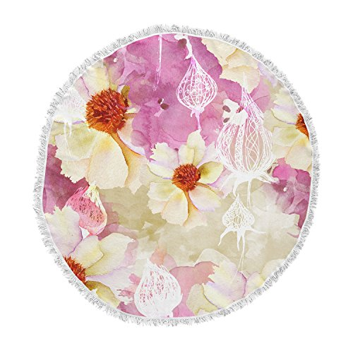 KESS InHouse Liz Perez Sweet Florist Cream Pink Round Beach Towel Blanket ()