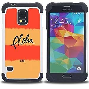 - peach pink aloha text lines yellow/ H??brido 3in1 Deluxe Impreso duro Soft Alto Impacto caja de la armadura Defender - SHIMIN CAO - For Samsung Galaxy S5 I9600 G9009 G9008V
