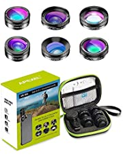 Updated Version Apexel 6 in 1 Phone Camera Lens Kit Wide Angle Lens + Macro Lens + Fisheye Lens + ND Filter+ CPL/Star Filter Clip-On Phone for iPhone 8/x 7/Plus Samsung S8 Android Smartphones