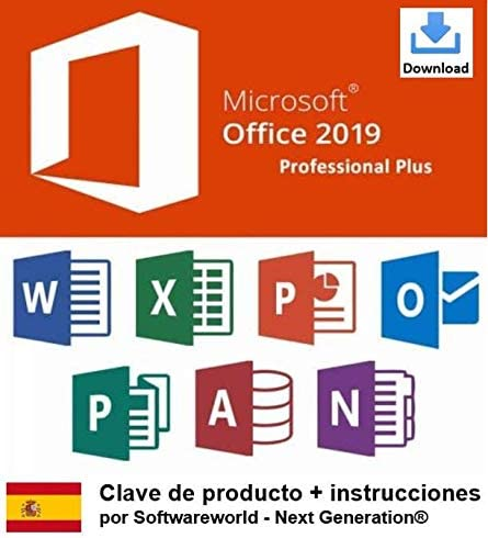 Clave De Producto Office Professional Plus 2019 De 32 64 Bits Incluidas Las Instrucciones De Softwareworld Next Generation Amazon Es Software