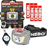 Nebo 6444 Duo LED Headlamp 250 Lumen Spot Light Flood Light Red Mode with 6 Nebo AAA Batteries and Lumintrail Keychain Light