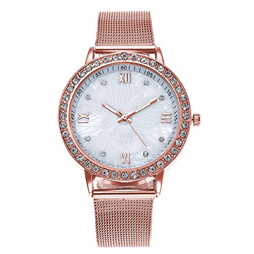 lightclub Fashion Women Mesh Band Rhinestone Lines Roman Numbers Quartz Analog Wrist Watch - Rose Gold