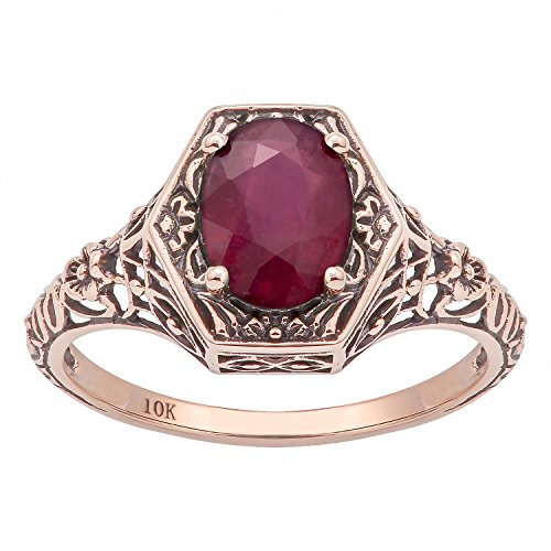 10k Rose Gold Vintage Style Genuine Oval Ruby Filigree Ring