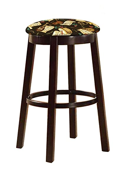Astounding Bar Stool Espresso Wood And Metal Bar Game Room Kitchen 28 Tall Swivel Seat Stool With Your Choice Of A Themed Fabric Covered Cushion Religious Gmtry Best Dining Table And Chair Ideas Images Gmtryco