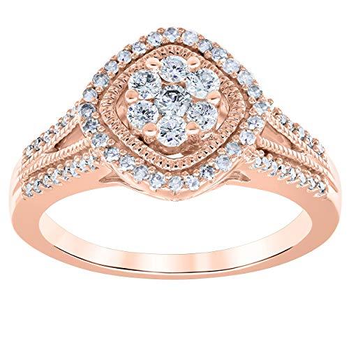 La4ve Diamonds 1/2 Carat Diamond Anniversary Ring In 10K Rose Gold. (Color - H-I) (Clarity I2-I3) ()