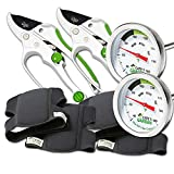 Cate's Garden 6-Piece Garden Tool Set- 2 Compost Thermometer Premium Stainless Steel, 2 Ultra Comfort Knee Pads, 2 Ratchet Pruning Shears 8'' Easy Action Anvil-type Premium Hand Pruner