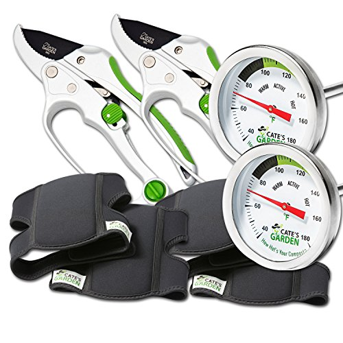 Cate's Garden 6-Piece Garden Tool Set- 2 Compost Thermometer Premium Stainless Steel, 2 Ultra Comfort Knee Pads, 2 Ratchet Pruning Shears 8'' Easy Action Anvil-type Premium Hand Pruner by Cate's Garden