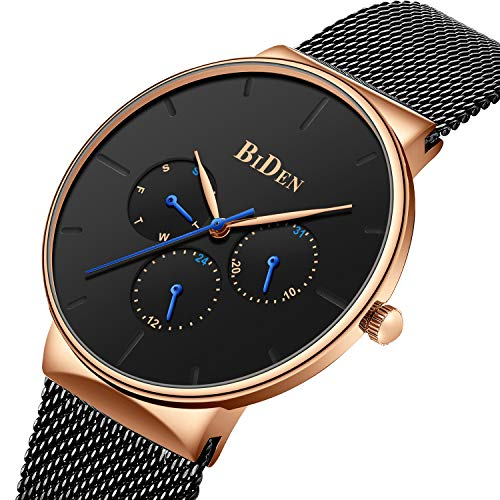 Watches Men Classic Sport Waterproof Quartz Analog Watch Fashion Stainless Steel Wrist Watches with Chronograph Date Black Gold