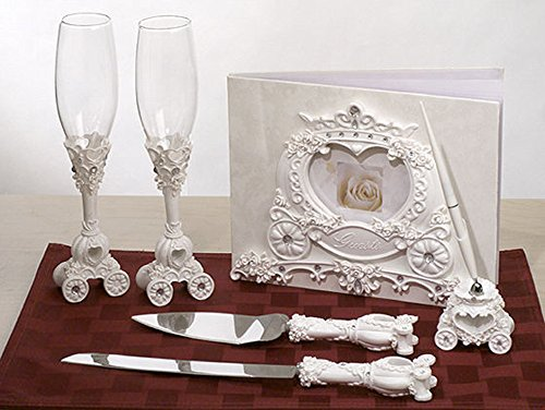 Wonderful Cinderella Coach Carriage Toasting Flutes, Cake Server, Guestbook & Pen Set - Cinderella Cake Decorations